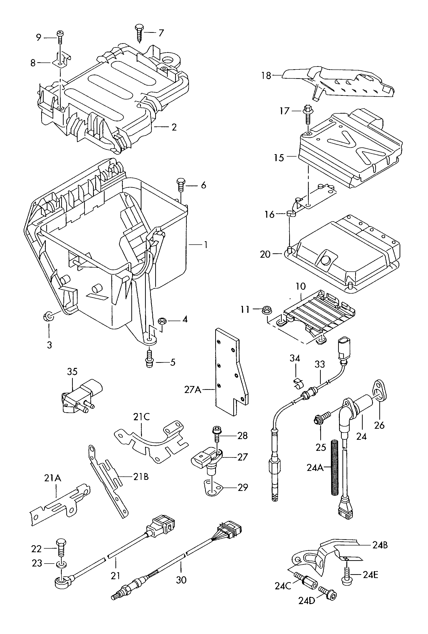 Audi A8 2008 2010 Lambda Probe Knock Sensor Inductive Engine Diagram Vag Etka