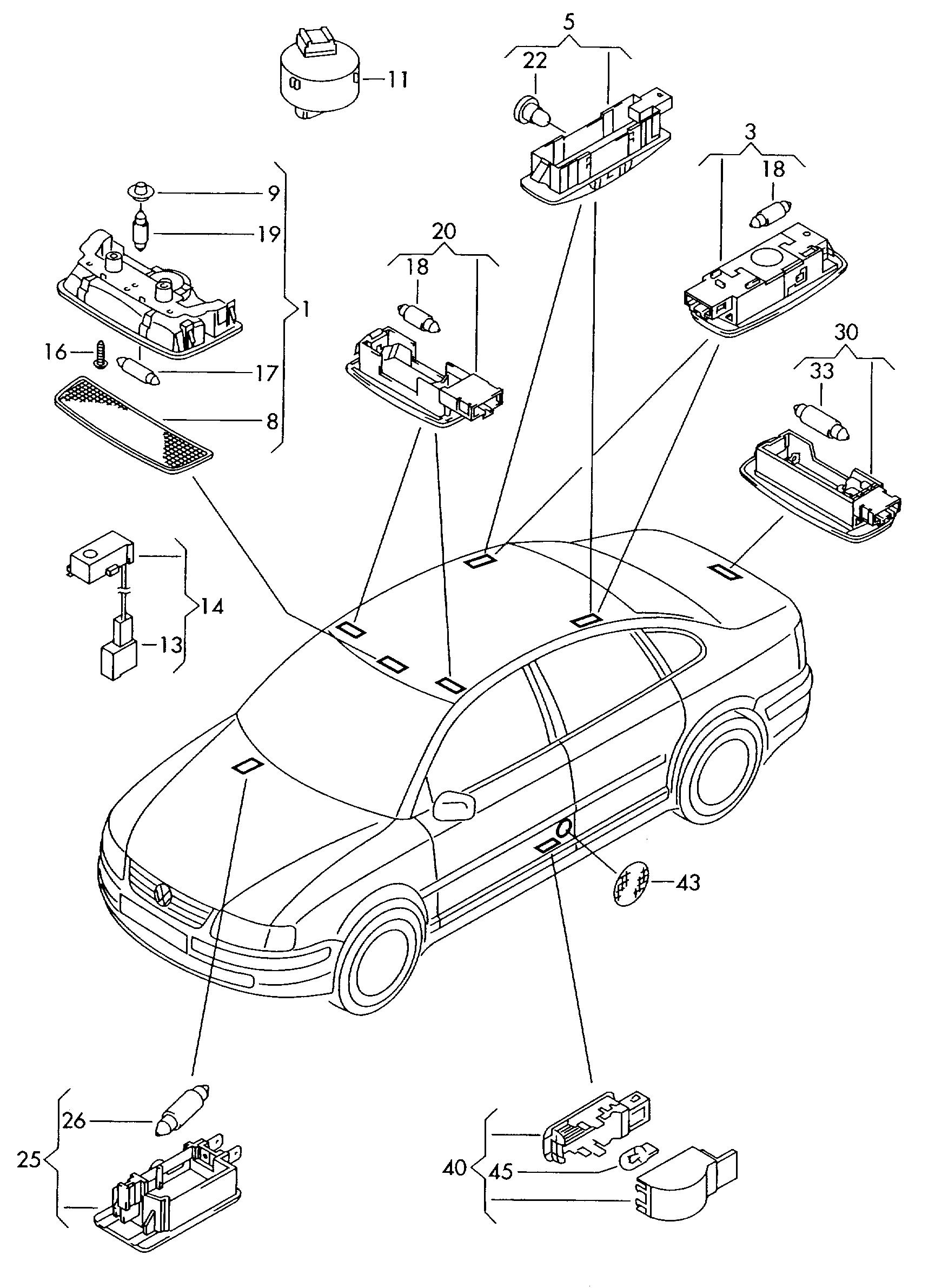 Volkswagen Passat Variant 2003 2005 Luggage Compartment Light Engine Diagram Vag Etka