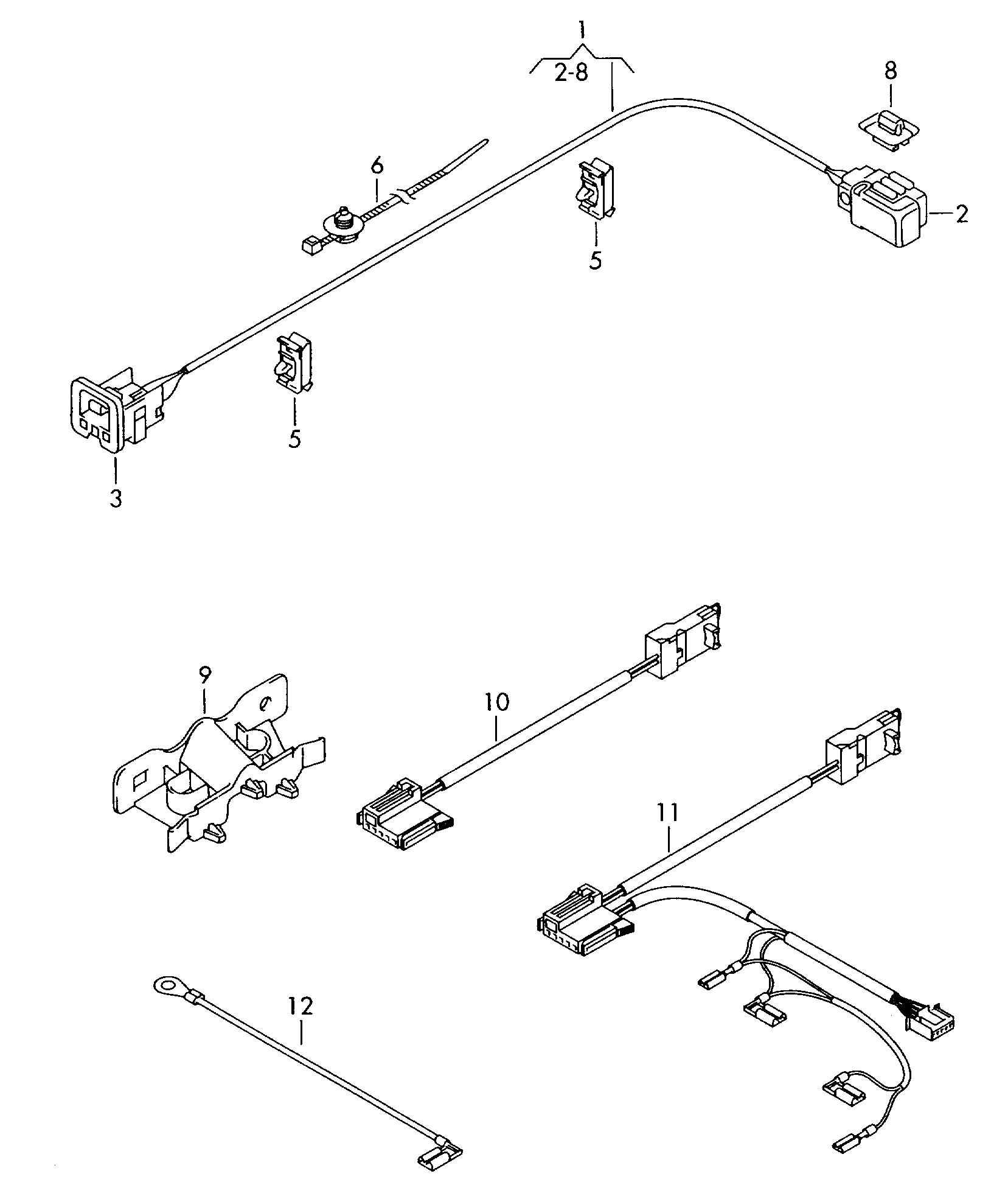 airbag wiring harness  volkswagen transporter kombi (2009 - 2010) / vag etka
