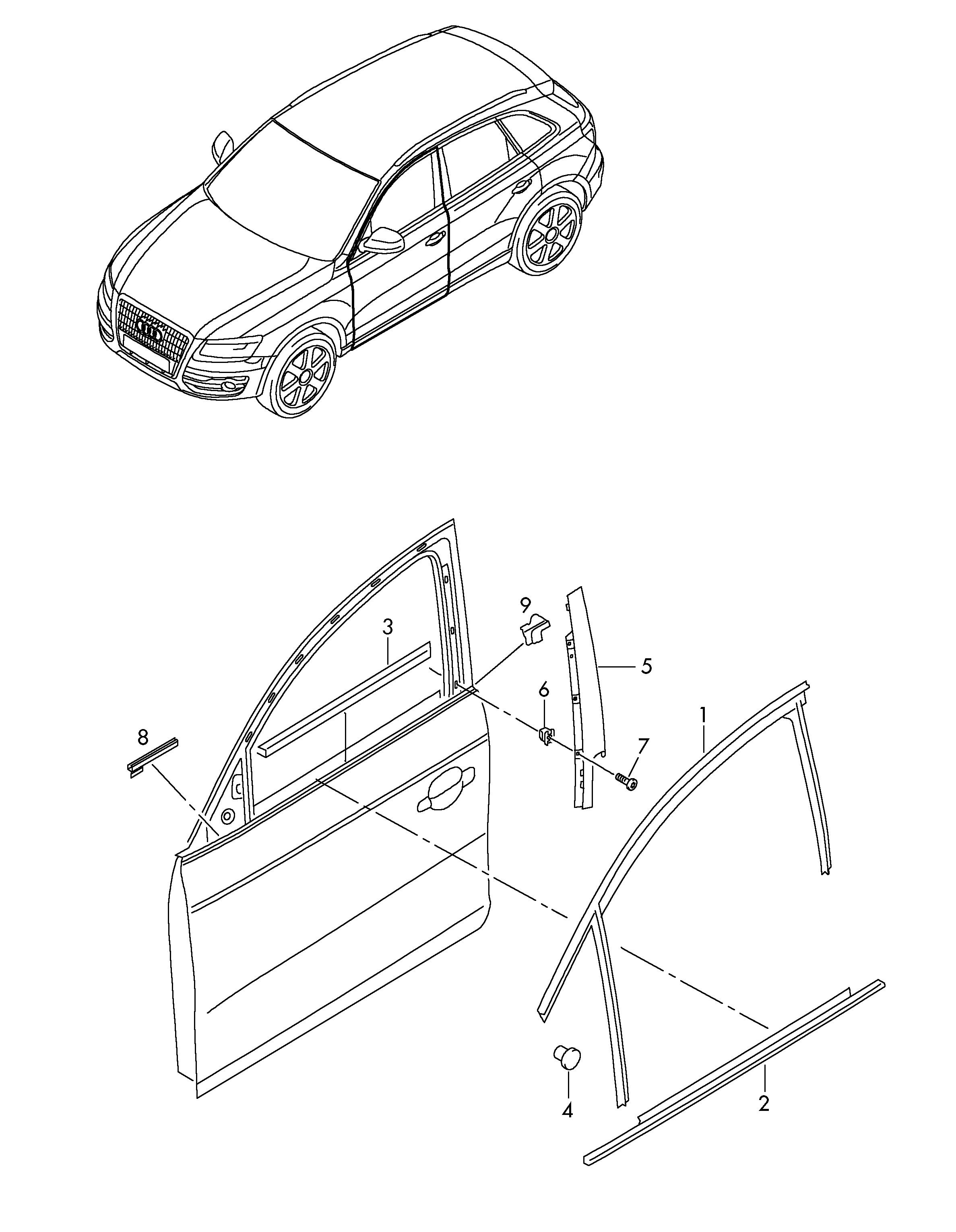 Audi Q5 (2013 - 2017) - trim for pillar b  window guide