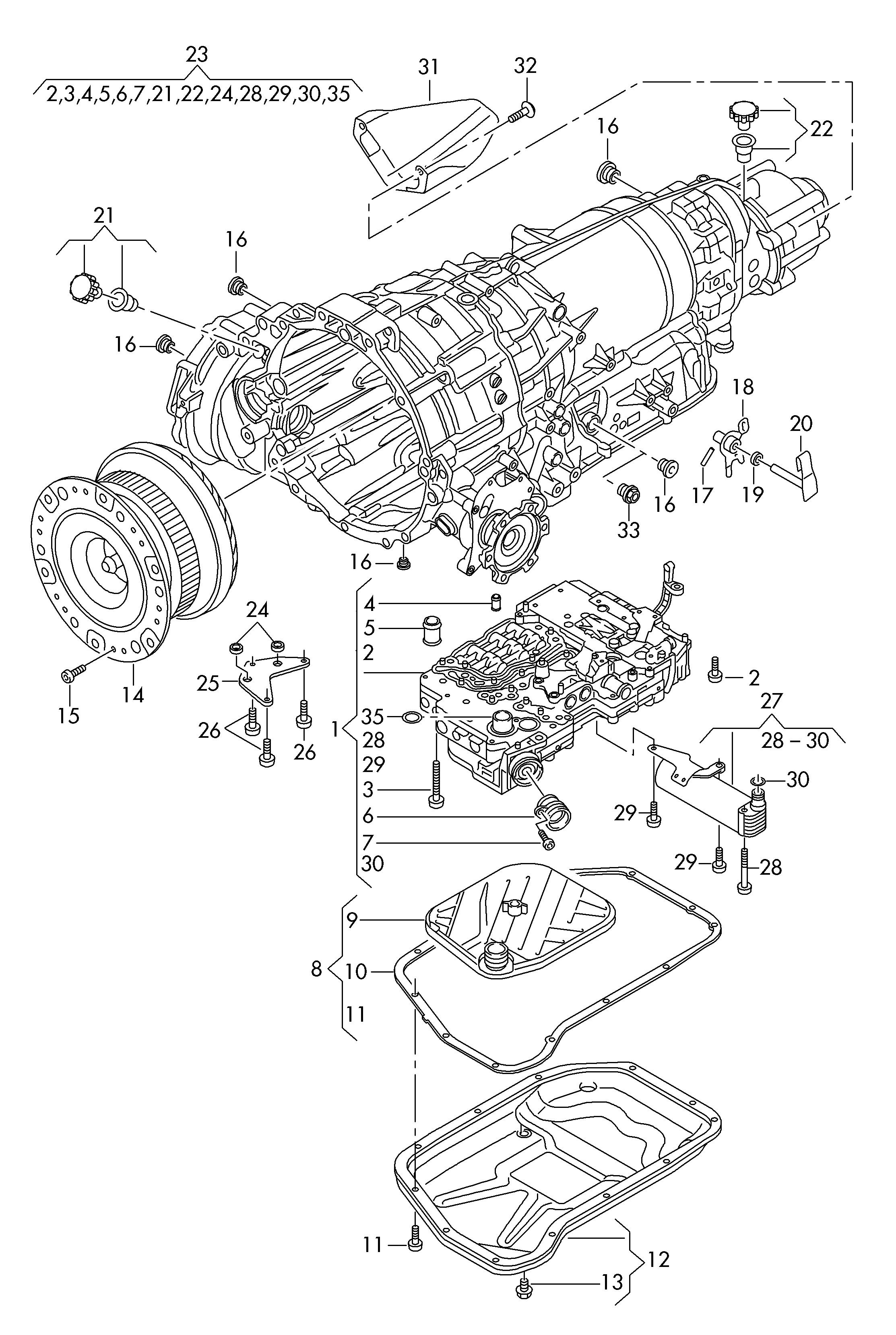 Audi A8 (2014 - 2017) - oil sump  oil strainer  mechatronic