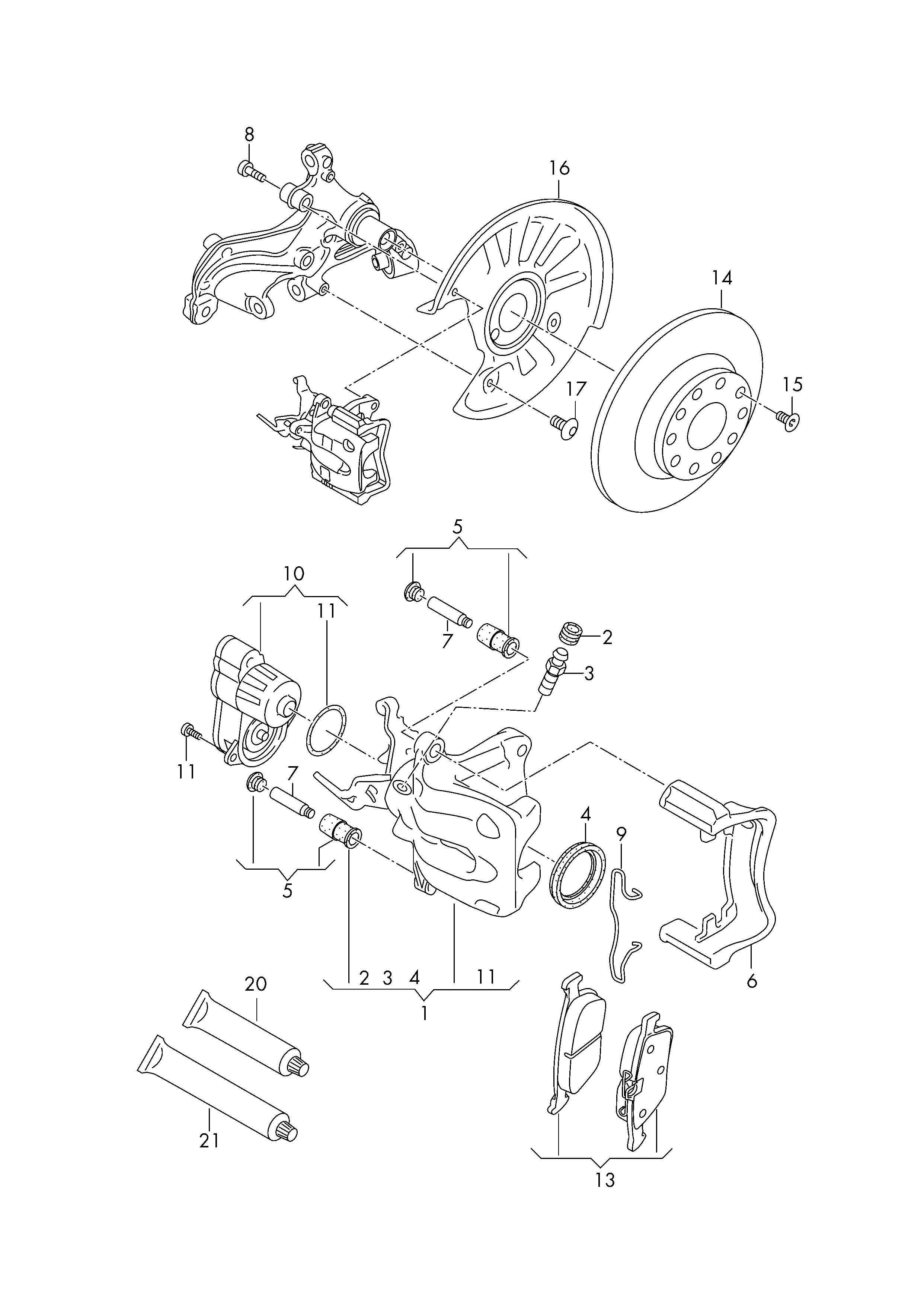 floating caliper brake  volkswagen touran (2016 - 2017) / vag etka