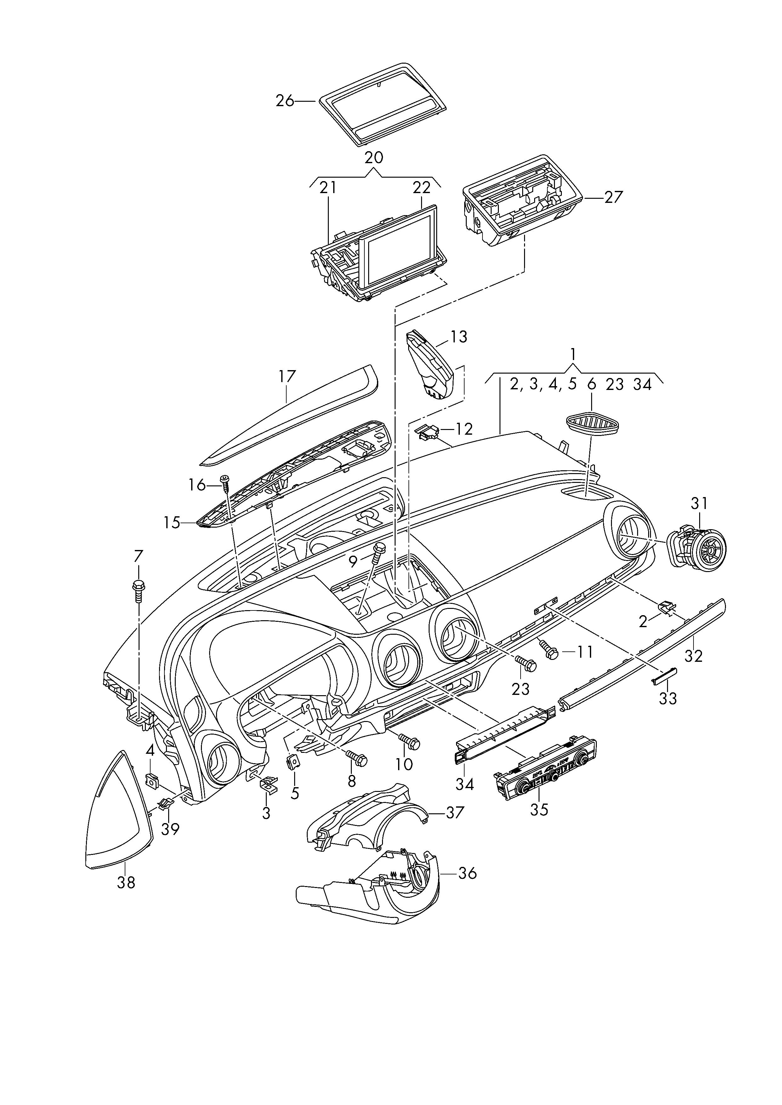 Audi A3 Cabriolet (2015 - 2016) - Schalttafel ...