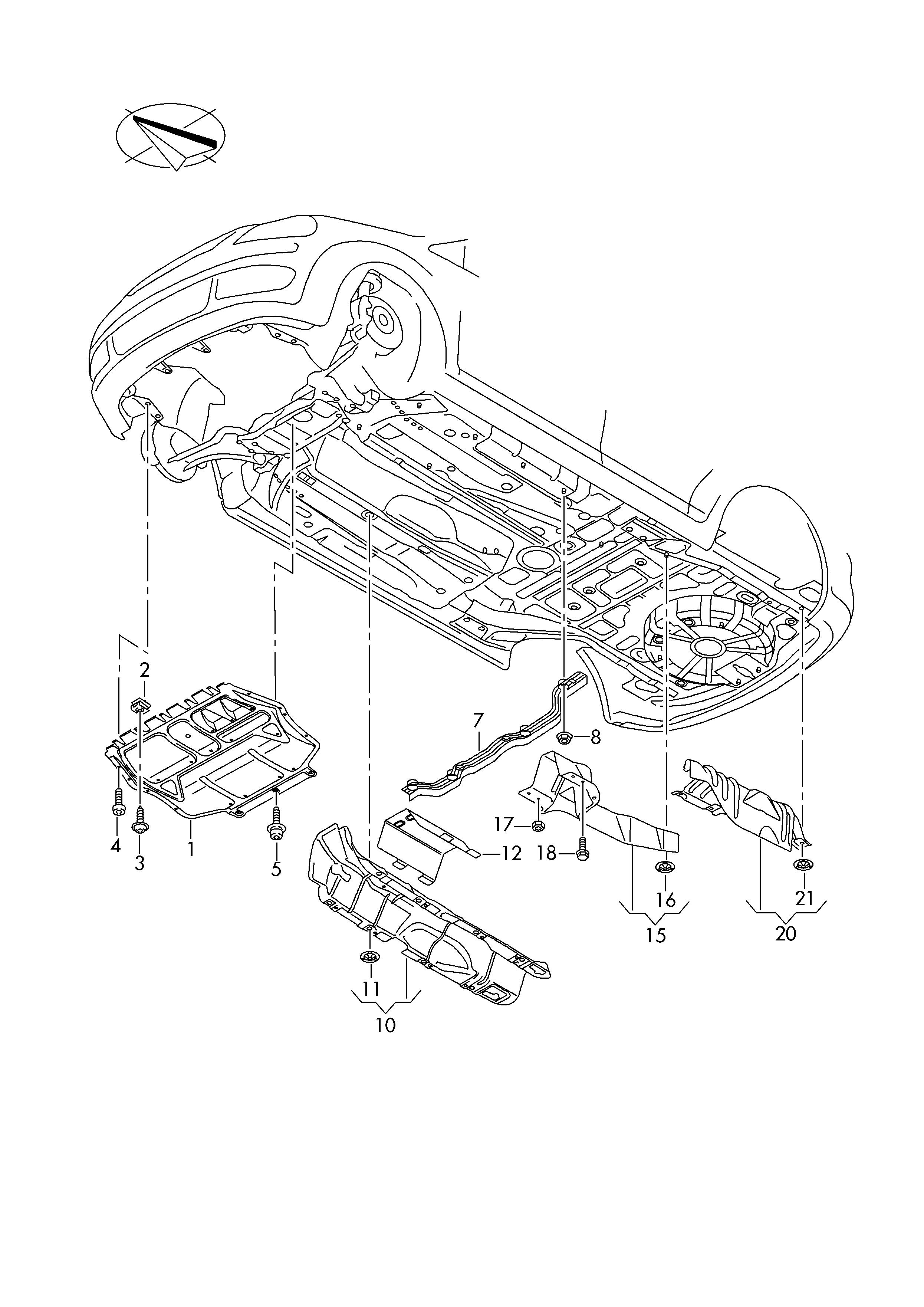 Volkswagen Caddy (2016 - 2017) - underbody trim  heat shield