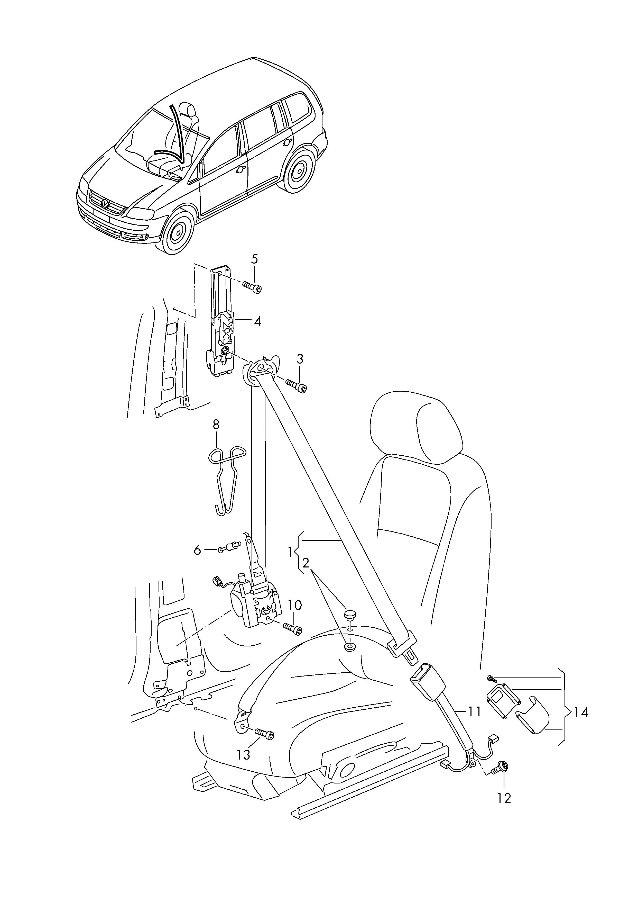 Volkswagen Touran (2016 - 2017) - belt latch  three-point