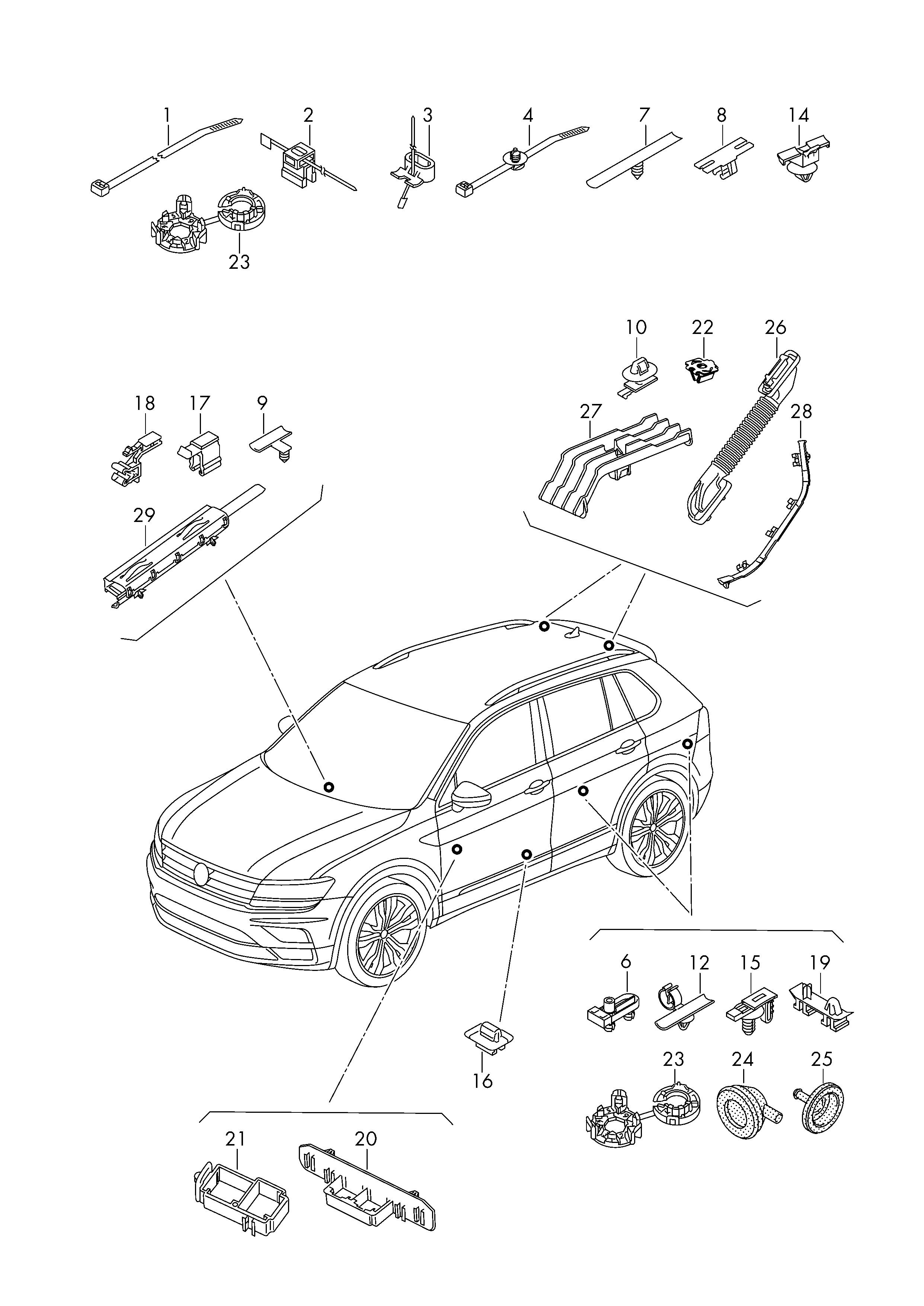 Volkswagen Tiguan 2016 2017 Cable Ties Bracket Clip Wiring Automotive Harness Design Guide Vag Etka