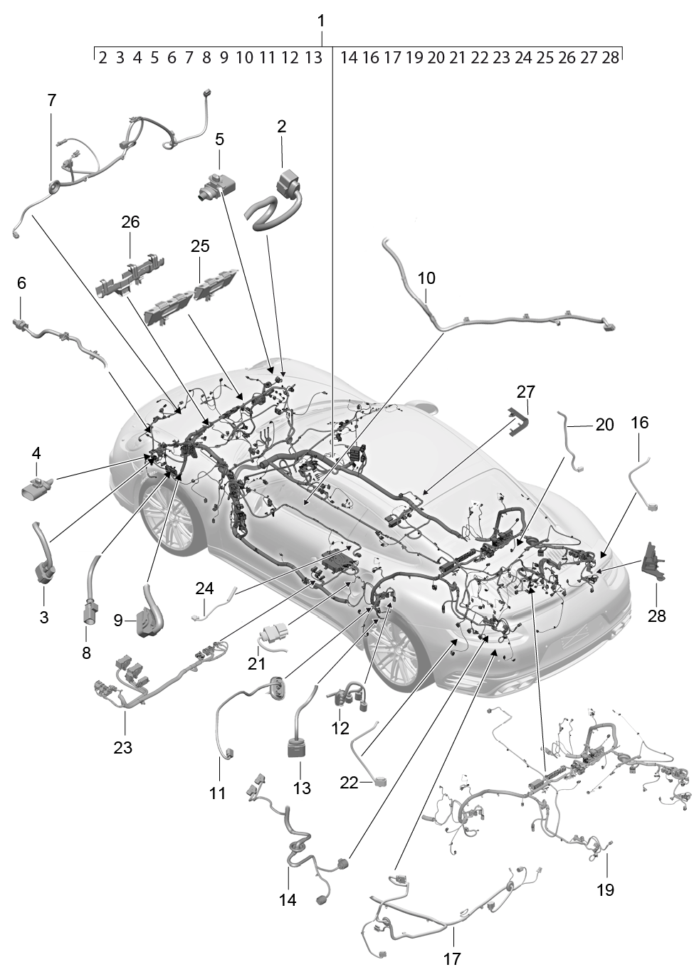 Porsche 991 Turbo 2014 2017 Sub Part Passenger Compartment 1991 911 Wiring Diagrams Diy Enthusiasts Pet